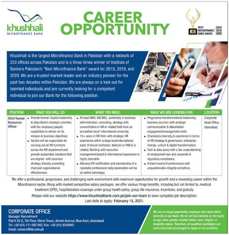 Khushhali Microfinance Bank Chief Human Resources Jobs 2021