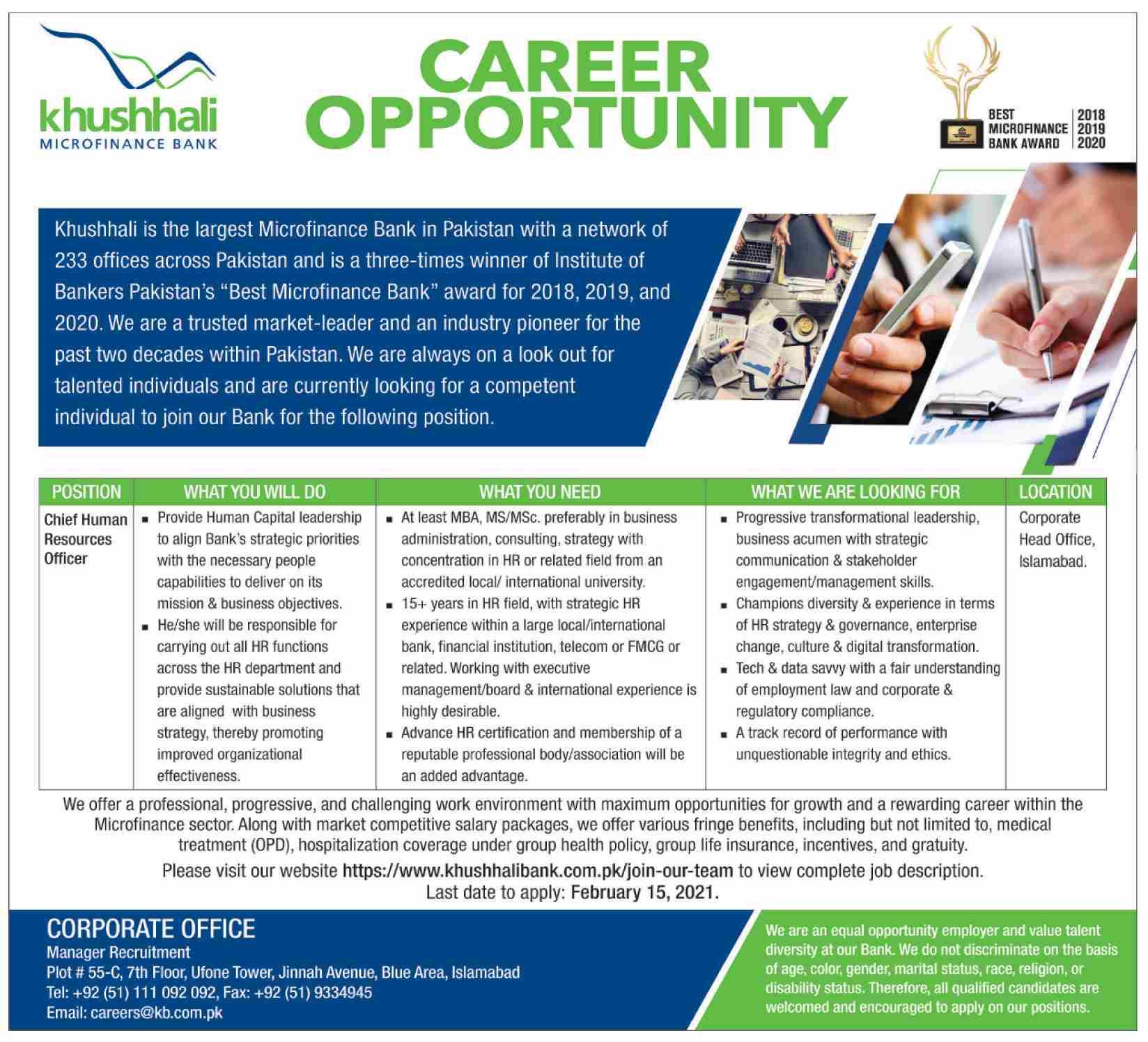Khushhali Microfinance Bank Jobs 2021 in Islamabad