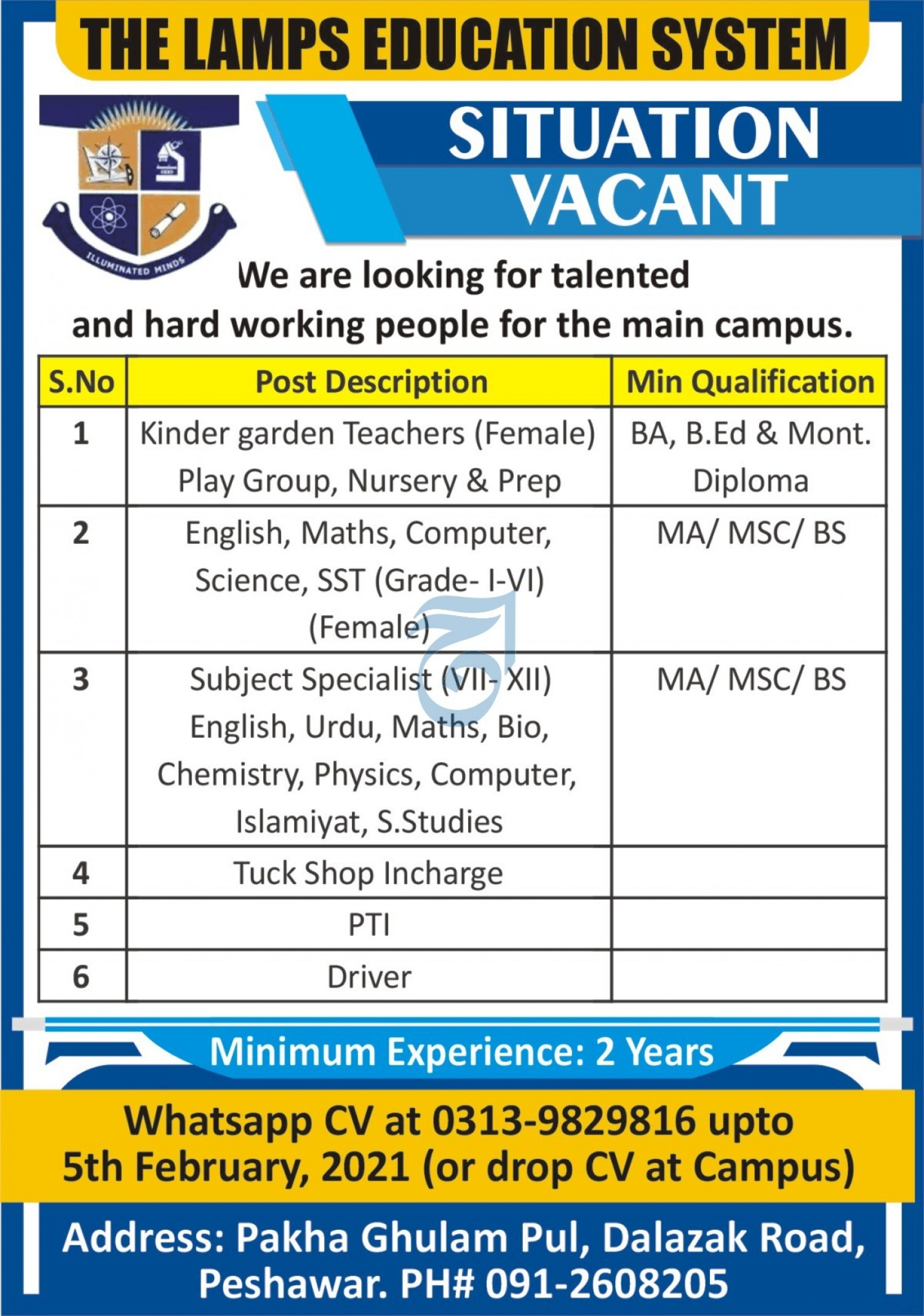 The Lamps Education System Jobs 2021 in Peshawar