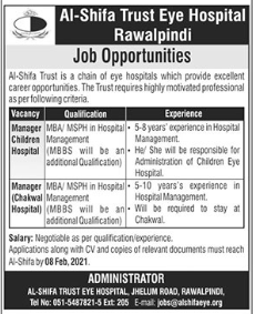 Al Shifa Trust Eye Hospital Management Jobs 2021