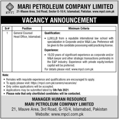 Mari Petroleum Company Limited Jobs 2021