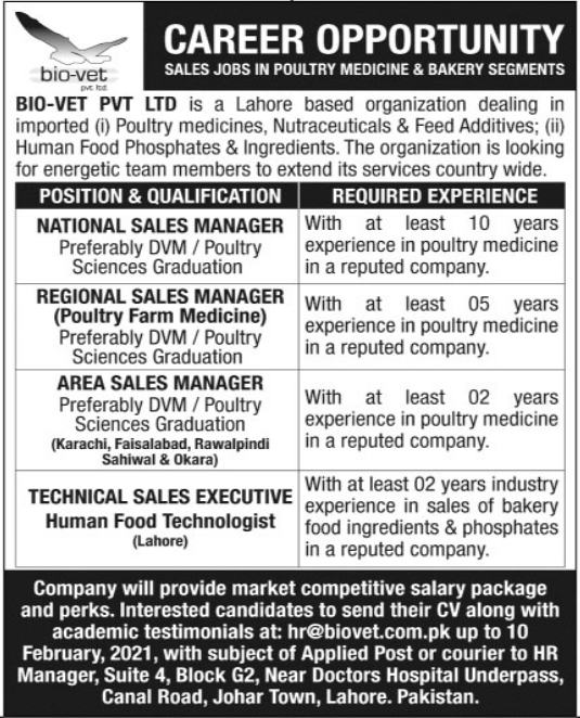 Sales Staff Jobs in Poultry Medicine & Bakerty Segments