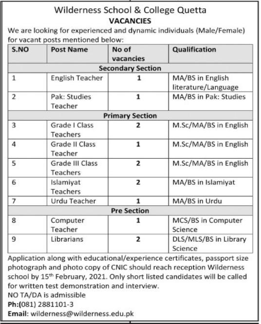 Wilderness School & College Teaching Staff Jobs 2021