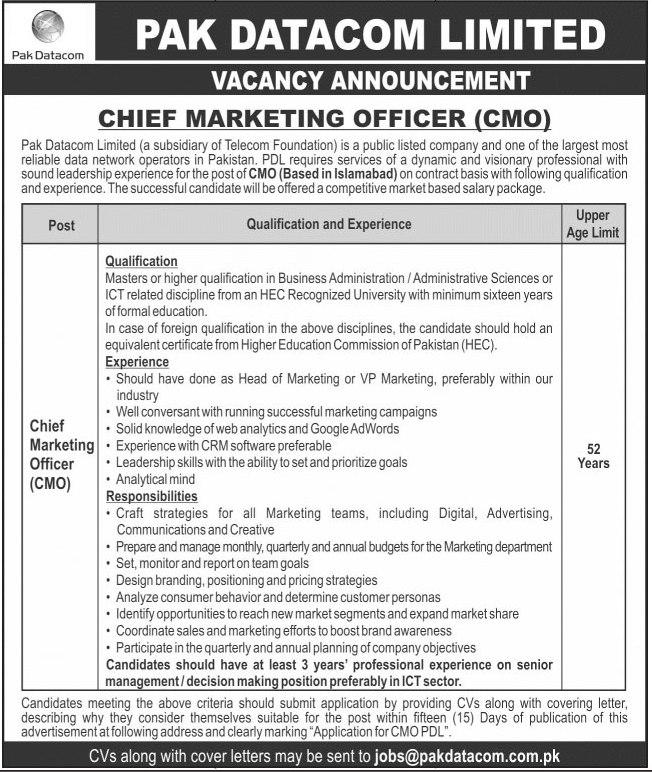 Pak Datacom Limited Chief Marketing Officer Jobs 2021