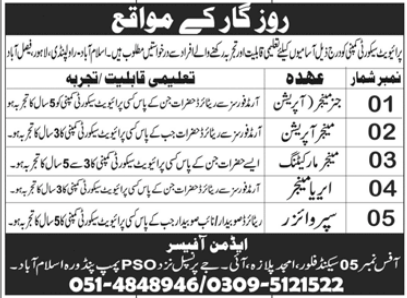 Private Security Company Jobs 2021 in Islamabad