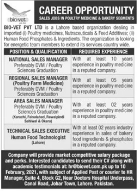 Bio Vet Private Limited Jobs 2021 in Lahore