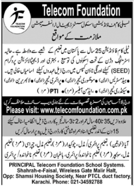 Telecom Foundation TF Jobs 2021 in Karachi