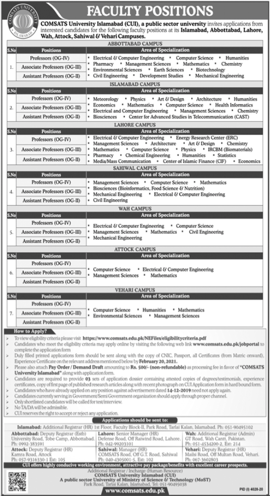 Comsats University Islamabad CUI Faculty Jobs 2021