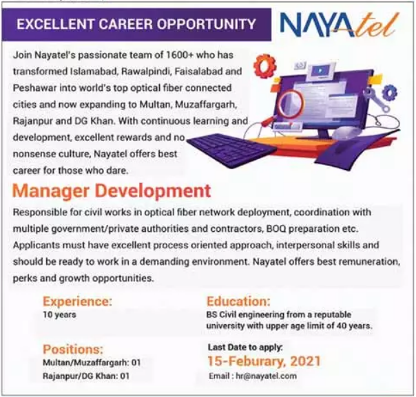 Manager Development Jobs in Nayatel Private Limited