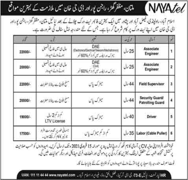 Nayatel Private Limited Engineering Staff jobs 2021