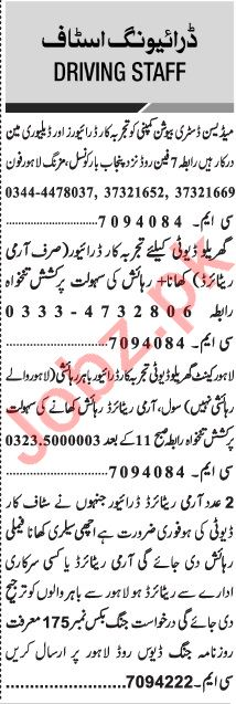Jang Sunday Classified Ads 31st Jan 2021 for Driving Staff