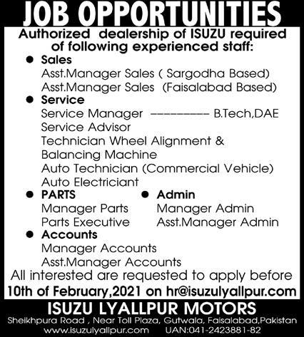 ISUZU Lyallpur Motors Management Jobs 2021