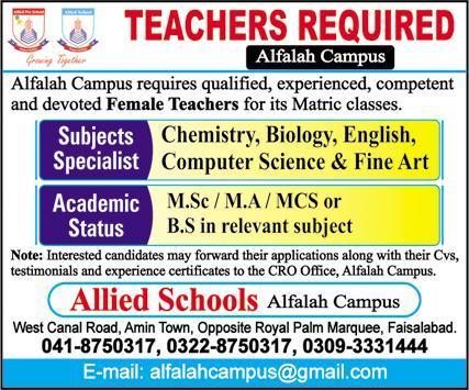 Teaching Staff Jobs in Allied Schools Alfalah Campus