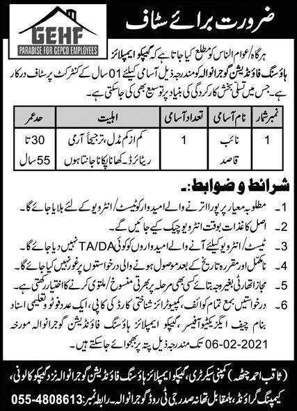 Naib Qasid Jobs in GEPCO Employees Housing Foundation