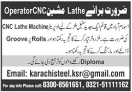 Lathe Machine Operator Jobs 2021 in Islamabad