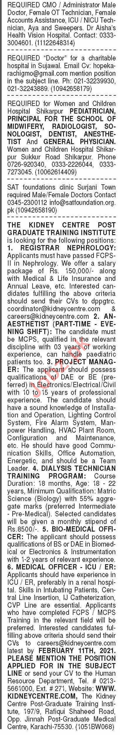 Dawn Sunday Classified Ads 31st Jan 2021 for Medical Staff