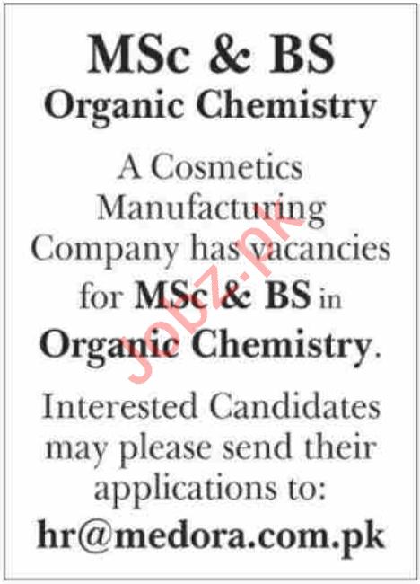 Medora of London Jobs 2021 for Organic Chemist & Chemist