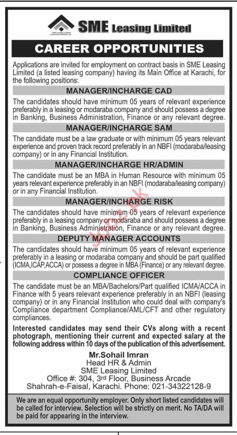 SME Leasing Limited SLL Karachi Jobs 2021 for Manager