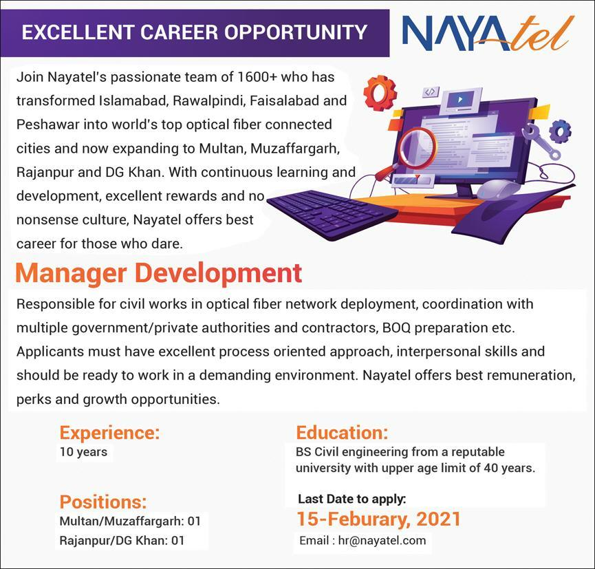 Nayatel Private Limited Manager Development Jobs 2021