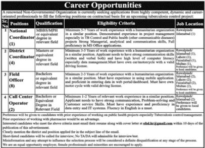 Non Government Organization NGO Coordinator Jobs 2021