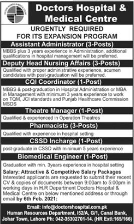 Doctors Hospital & Medical Center Management Jobs 2021