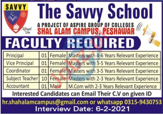 The Savvy School Shah Alam Campus Peshawar Jobs 2021