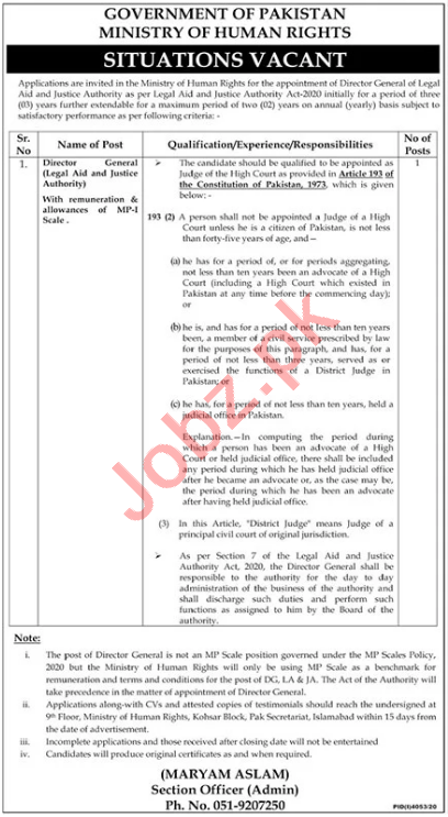 Director General Jobs in Ministry of Human Rights Islamabad
