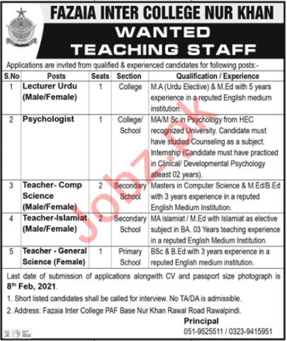 Fazaia Inter College FIC Nur Khan Rawalpindi Jobs 2021