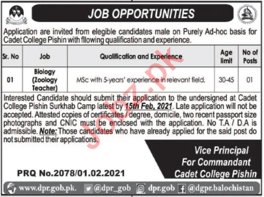Cadet College Pishin Jobs 2021 for Zoology Teacher