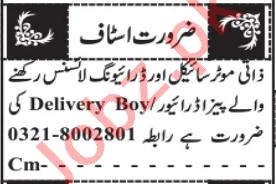 Delivery Boy & Pizza Driver Jobs 2021 in Quetta