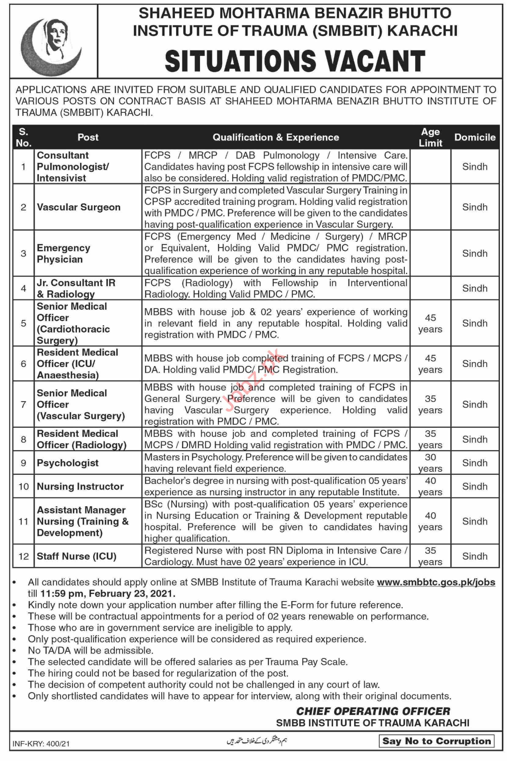 Shaheed Mohtarma Benazir Bhutto Institute of Trauma Jobs