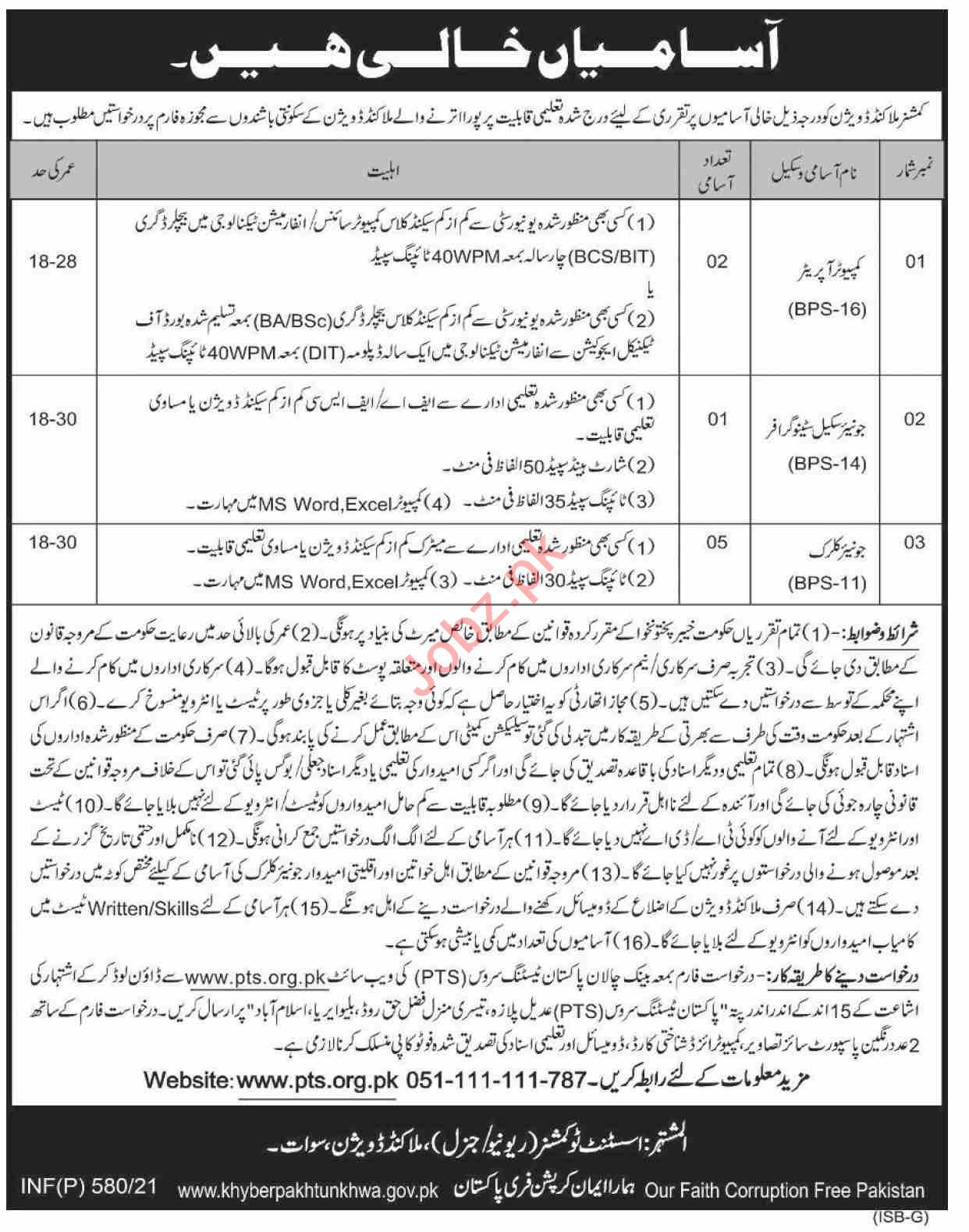 Commissioner Malakand Division Jobs 2021 Computer Operator