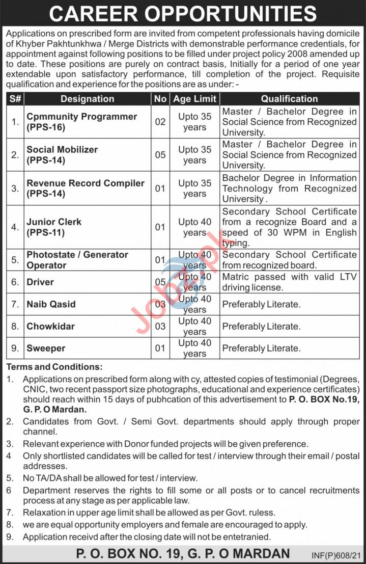 P O Box No 19 GPO Mardan Jobs 2021 for Social Mobilizer