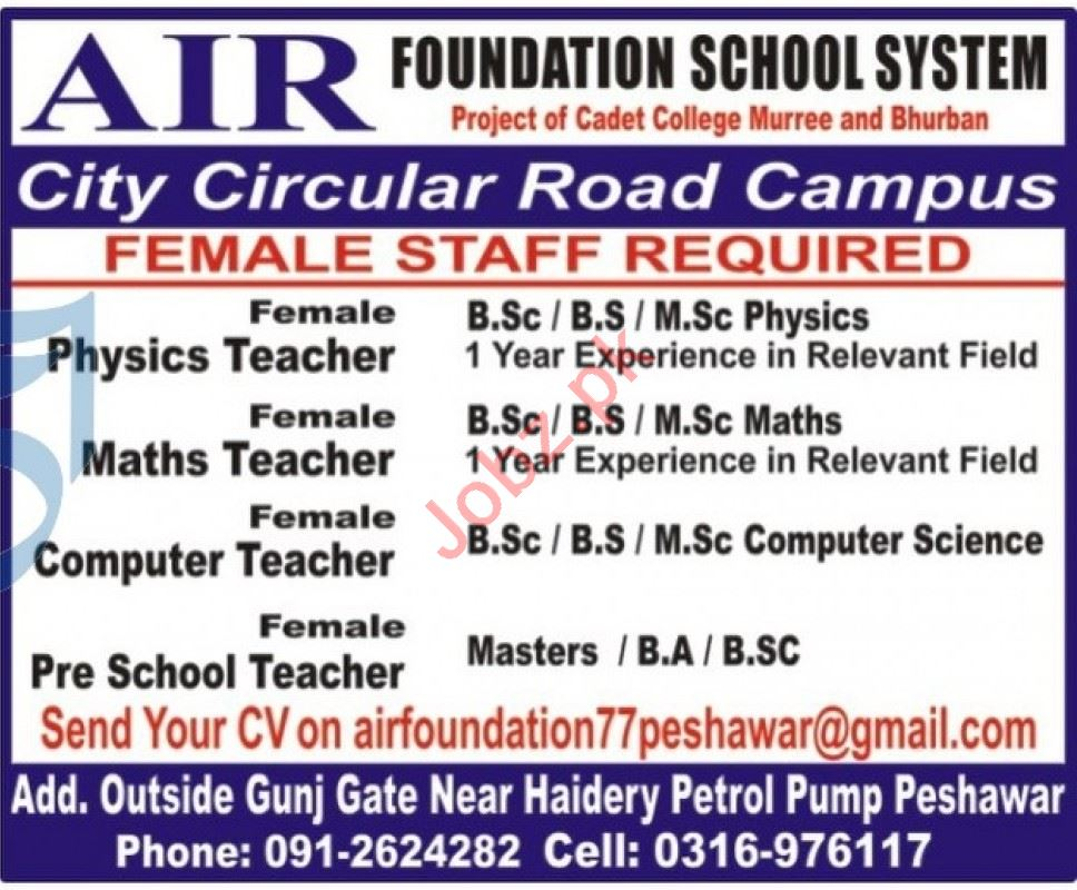 Air Foundation School System City Circular Road Jobs 2021