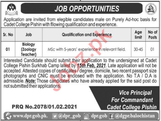 Cadet College Pishin Jobs 2021 for Biology Teacher