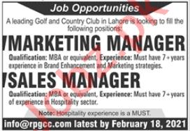 Royal Palm Golf & Country Club RPGCC Lahore Jobs 2021