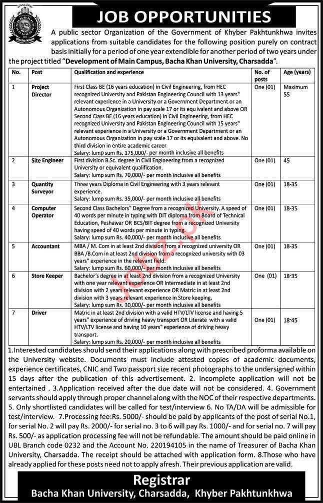 Bacha Khan University Jobs 2021 for Director & Engineers