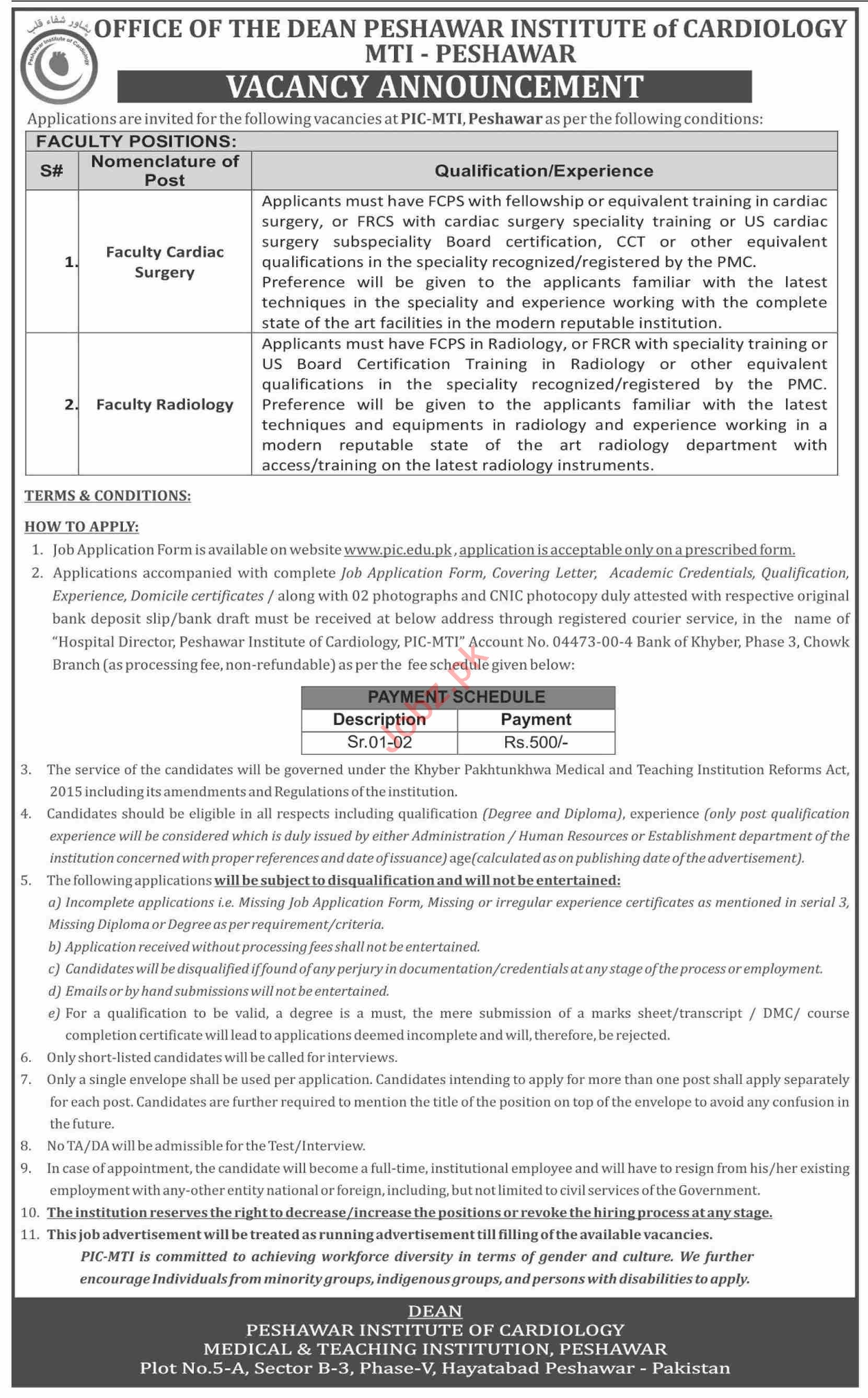 Peshawar Institute of Cardiology PIC MTI Faculty Jobs 2021