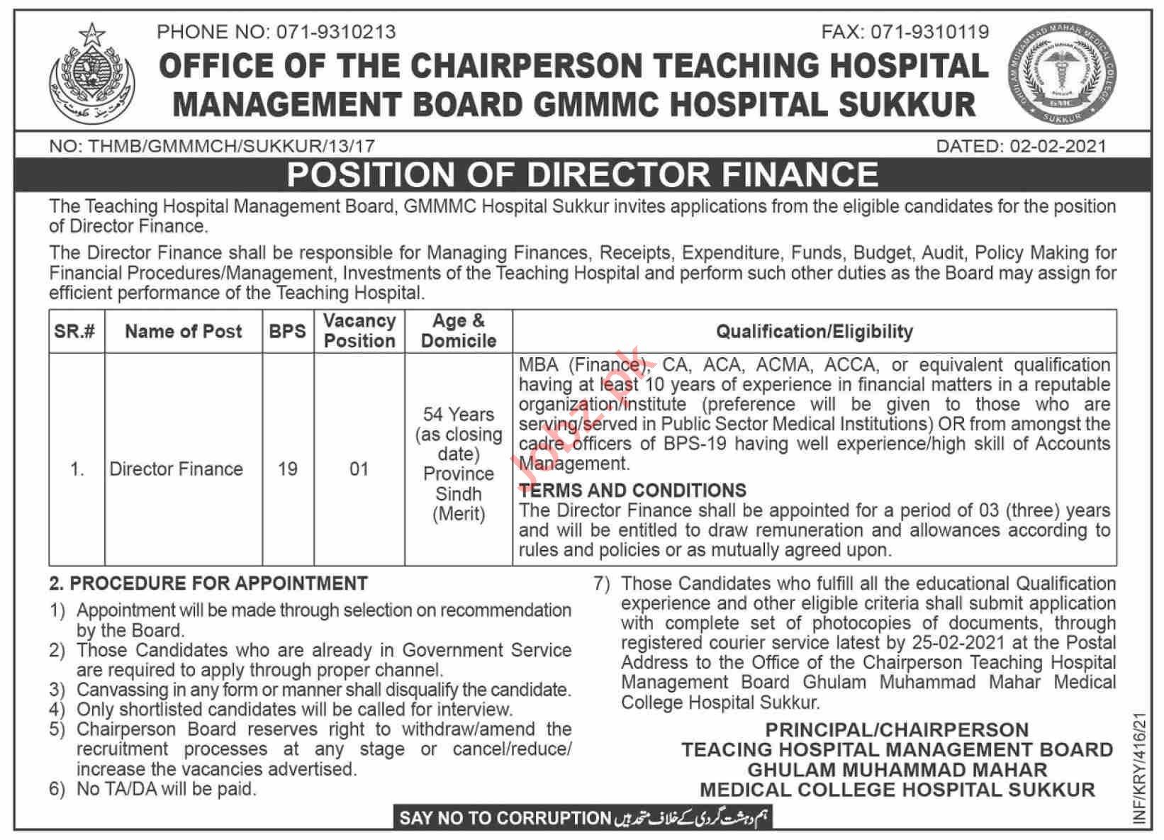 Ghulam Muhammad Mahar Medical College Hospital Jobs 2021