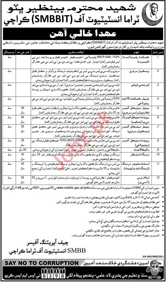 Consultants Jobs 2021 in SMBBIT Institute of Trauma Karachi