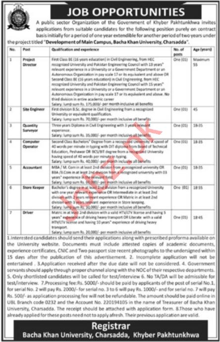 Bacha Khan University Charsadda BKUC Jobs 2021 Accountant