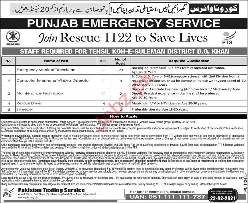Punjab Emergency Service Rescue 1122 DG Khan Jobs 2021