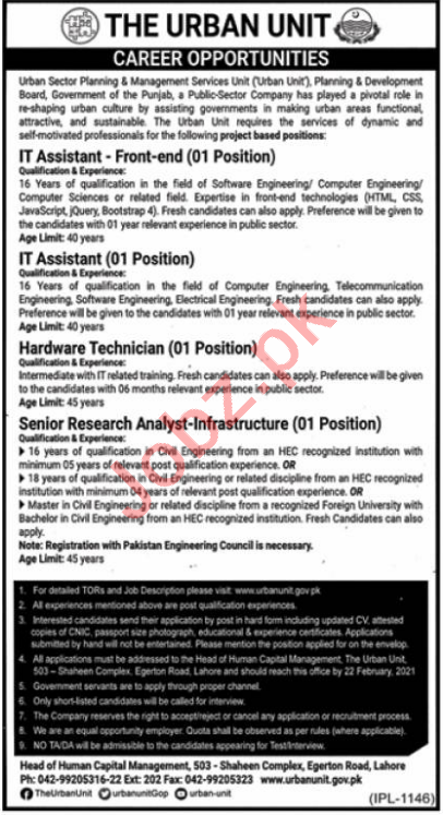 The Urban Unit Lahore Jobs 2021 IT Assistant & Technician