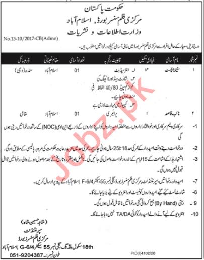 Central Board of Film Censors CBFC Islamabad Jobs 2021