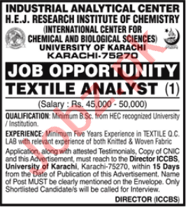 HEJ Research Institute of Chemistry Karachi Jobs 2021