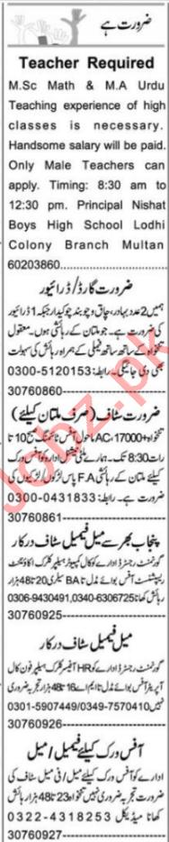 Teacher & Customer Relationship Officer Jobs 2021 in Multan