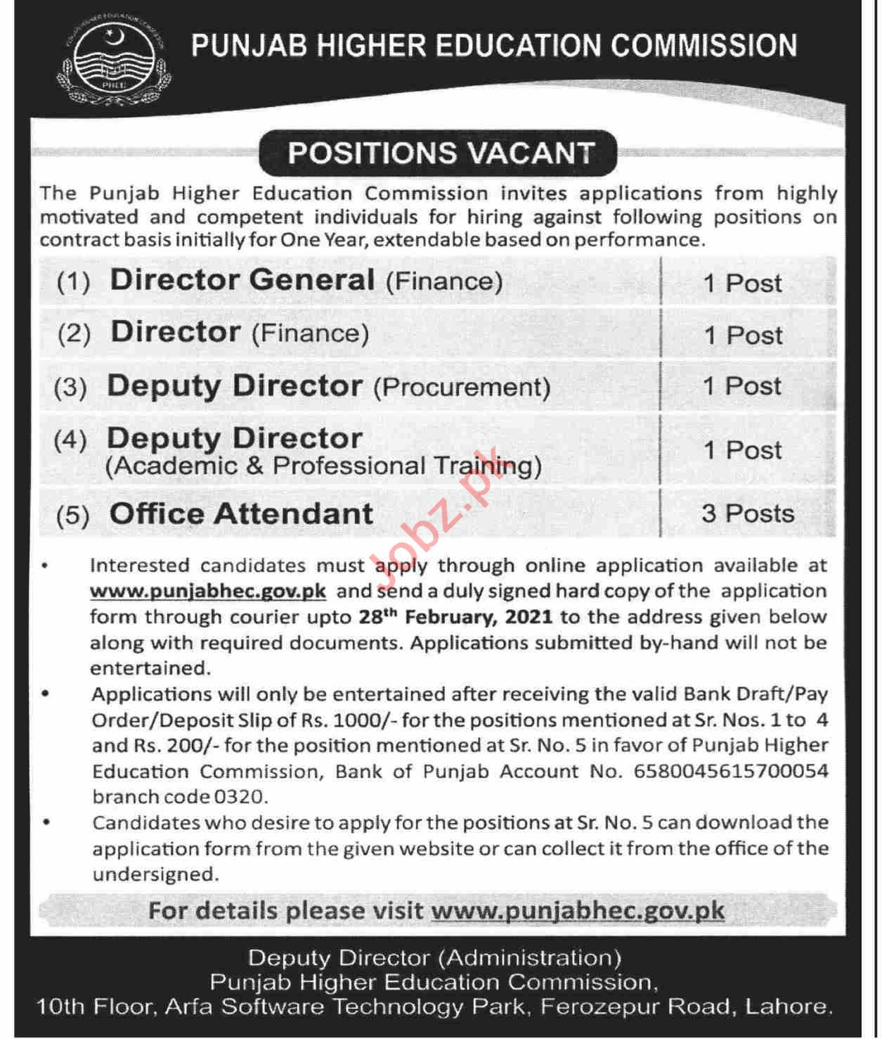 Punjab Higher Education Commission Jobs 2021 for Director