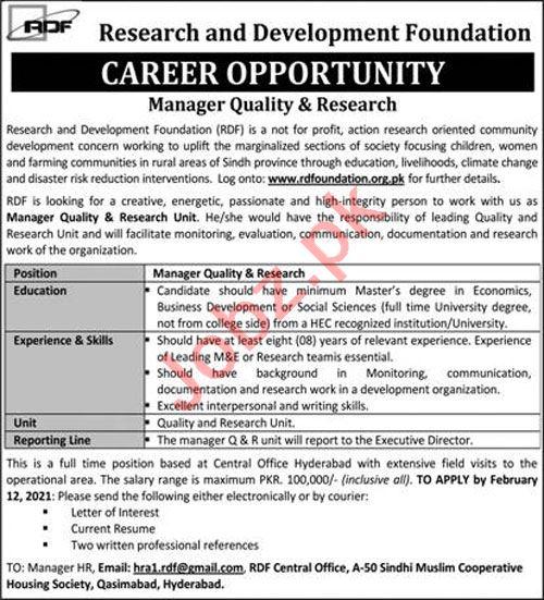 Research & Development Foundation RDF Hyderabad Jobs 2021