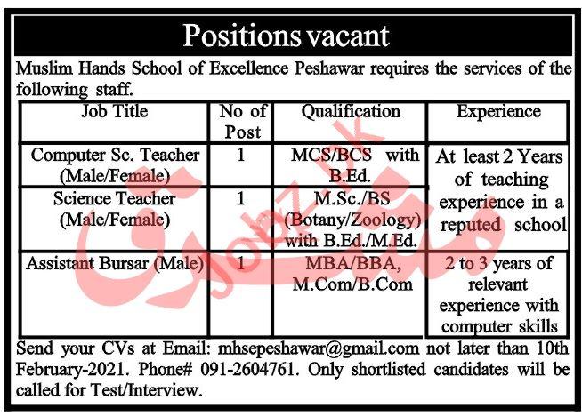 Muslim Hands School of Excellence Peshawar Jobs 2021