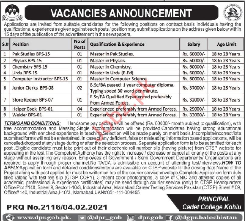 Cadet College Kohlu Jobs 2021 for Teachers & Junior Clerks